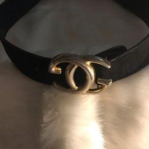 Vintage 70's-80's Gucci Belt, Black Suede